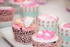 Cupcakes for a Baby Shower Royalty Free Stock Photography