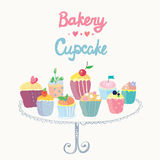 Cupcakes and bakery funny card Stock Images