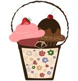 Cupcakes in Basket royalty free illustration