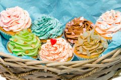 Cupcakes in basket Royalty Free Stock Photos