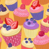 Cupcakes with berries seamless pattern Stock Photo