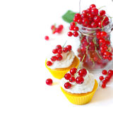 Cupcakes and berries. Stock Photography