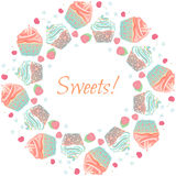 Cupcakes and berries vector garland, frame or wreath Royalty Free Stock Photos