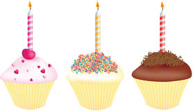 Cupcakes for birthdays. Each with a single candle stock illustration