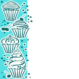 Cupcakes on blue. Card with cupcakes in the vector Stock Image