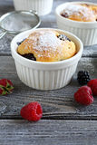 Cupcakes with blueberries and raspberries Stock Photo
