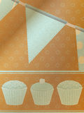 Cupcakes and bunting over brownpaper background Stock Image