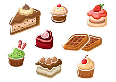 Cupcakes, cakes, dessert and waffles Royalty Free Stock Images