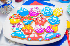 Cupcakes, cakes and holiday cookies Royalty Free Stock Photo