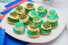 Cupcakes, cakes and holiday cookies Stock Photo