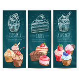 Cupcakes, cakes pastries desserts banners Stock Photography