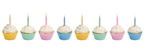Cupcakes With Candle Border Royalty Free Stock Images