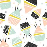 Cupcakes, candles, stars, seamless pattern vector illustration