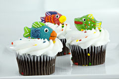 Cupcakes with Candy Fish on top Royalty Free Stock Photos