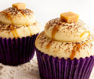 Cupcakes with Caramel Candy and Chocolate Royalty Free Stock Images