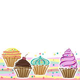 Cupcakes. Cards with cupcakes in the vector Royalty Free Stock Photos