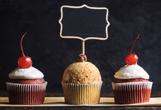 Cupcakes with chalkboard Stock Photography