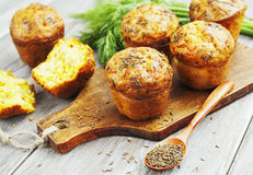 Cupcakes with cheese, dill and cumin Stock Photo