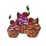 Cupcakes with cherrie and cream. Illustration of a three cupcakes with cherrie and cream. For greeting cards and backgrounds Royalty Free Stock Photos
