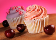 Cupcakes and Cherries Royalty Free Stock Images