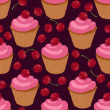 Cupcakes with cherries seamless pattern. Seamless pattern with cupcakes and cherries Stock Image