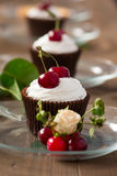 Cupcakes with cherries Royalty Free Stock Photography