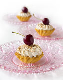 Cupcakes with cherries and whipped cream Royalty Free Stock Photos