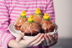 Cupcakes with chickens Stock Images