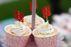 Cupcakes with chinese word. For wedding stock image