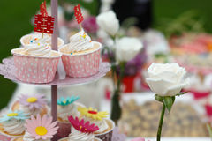 Cupcakes with chinese word and rose Royalty Free Stock Image