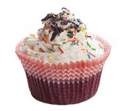 Cupcakes with chocolate chips and colored sprinkles Stock Photography