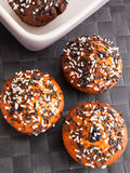 Cupcakes with chocolate frosting Royalty Free Stock Images