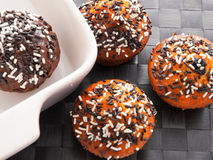 Cupcakes with chocolate frosting Stock Image