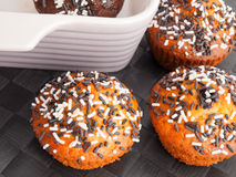 Cupcakes with chocolate frosting Royalty Free Stock Image