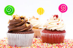 Cupcakes and chocolate sprinkles Stock Images