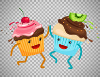 Cupcakes clap hands on transparent background royalty free illustration