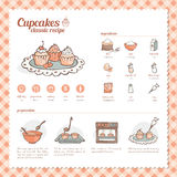Cupcakes classic recipe vector illustration