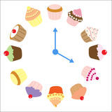 Cupcakes Clock. Clock made of cupcakes and fairy cakes with hands pointing to 4 o'clock isolated on a white background as time for tea concept, vector Stock Photos