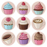 Cupcakes and coffee isolated set Stock Image