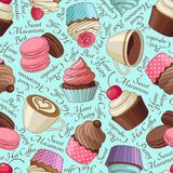 Cupcakes and coffee pattern, blue Stock Photography