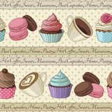 Cupcakes and coffee pattern, light yellow. Yummy colorful cream cupcakes, macaroons and cups of coffee seamless pattern, light yellow Royalty Free Stock Photos
