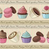 Cupcakes and coffee pattern, light yellow Stock Photo
