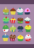 Cupcakes Collection. Set of cupcakes in nice soft coloring with many kind of toppings Royalty Free Stock Photography