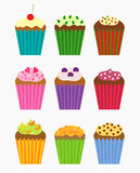 Cupcakes collection. Various flavors of cupcakes - vector collection Royalty Free Stock Images