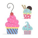 Cupcakes collection. Three different cupcakes. Isolated on white background Stock Photos