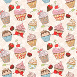 Cupcakes colorful seamless pattern Stock Image