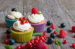 Cupcakes. Colorful cupcakes with White frosting and fresh berries Stock Photography