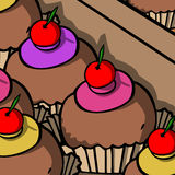 Cupcakes in the confectionery Stock Photo
