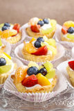 Cupcakes with cram and fresh fruits Stock Images