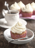 Cupcakes with cream cheese frosting Stock Photos